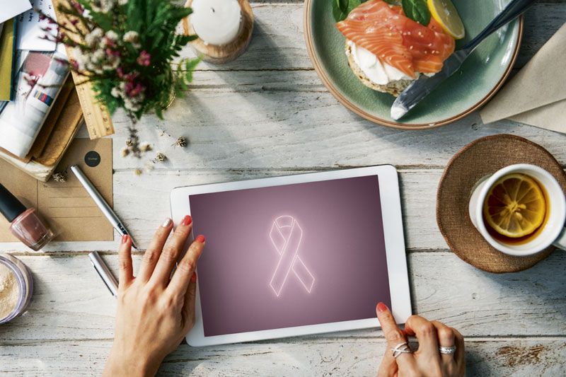 Pink Ribbon auf Tablet